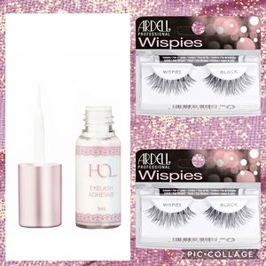 2 Ardell Black Wispies Lashes + HOL White Adhesive